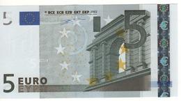 """5 EURO  """"Z""""  BELGIO   Firma Duisenberg    T 001 F5  /  FDS - UNC - EURO"""