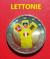 LETTONIE 2018 - 2 EUROS - ETAS BALTES - COULEUR - FARBE + CAPSULE MODELE N° 1 - Lettonie