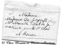 MME DE GASVILLE HOTEL DE LA MARINE PORTE ST ELOI ROUEN 1806 - SEINE MARITIME - LETTRE MISSIVE - Marcophilie (Lettres)