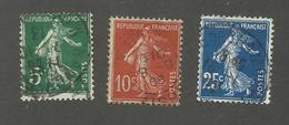 FRANCE - N°YT 137/38+140 OBLITERES - COTE YT : 0.45€ - 1907 - 1906-38 Sower - Cameo