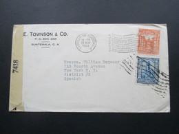 Zensurbeleg Guatemala 1944 Air Mail / Luftpost ?! Nach New York. Examined By 7418 - Guatemala