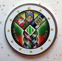 LITUANIE 2018 - 2 EUROS - ETATS BALTES - COULEUR AVEC LE TOUR BLANC (RARE) - FARBE + CAPSULE MODELE N° 3 - Lituania