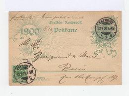 Deutches Reich. 1900. Postkarte Von Chemnitz Nach Paris.  (2868) - Allemagne