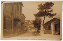 Cpa Bon Etat , Photo Moderne, Tirée De Carte Postale Ancienne  Marseille-beaumont  écoles ,l'allée Des Pinsons, Rare - France