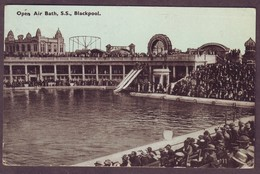 1933 Used Blackpool England Postcard Showing Open Air Bath S.S., Blackpool Lancashire United Kingdom - Blackpool