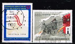 AUTRICHE / Oblitérés/Used/1998 - Communauté Européenne / Ville - YVT N° 2090,2096 / MI.N°2261,2267 - 1991-00 Used