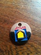 Jeton De Caddie ATLAS  . 30 Ans Argenté - Trolley Token/Shopping Trolley Chip