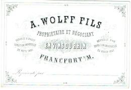 Belle Carte Porcelaine. Négociant En Vins Du Rhin.  A.Wolff. Francfort. Tarifs Au Dos. - Cartes De Visite