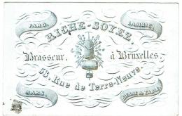 Carte Porcelaine. Brasseur à Bruxelles. Riche-Soyez. Faro-Lambic. Rue Des Terre-Neuve. - Visiting Cards