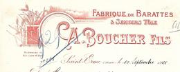 Facture Lettre / 02 AISNE / SAINT ERME / 1925 / A. BOUCHER Fils / Fabrique De Barattes,semoirs / Agricole Neufchâteau 88 - France
