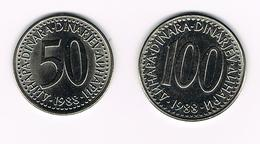JOEGOSLAVIE  50 + 100  DINARA  1988 - Yougoslavie