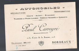 Bordeaux (33 Gironde) Carte Commerciale AUTOMOBILES PAUL CARREYRE (mécanicien) (PPP12503) - Publicités