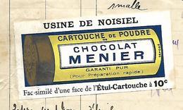Facture Vignette1913 / 70 PORT-sur-SAONE / MADIOT LYAUTEY / Epicerie / Lessive Vellexon Saporine / Pub Chocolat Meunier - Profumeria & Drogheria