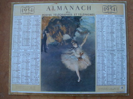 CALENDRIER DES PTT 1954 AU VERSO REPRODUCTION DE 1ER CLAENDRIER POSTAL DE 1854 - Calendars
