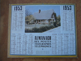 CALENDRIER DES PTT 1953 AU VERSO REPRODUCTION DE 1ER CALENDRIER POSTAL DE 1854 - Calendriers
