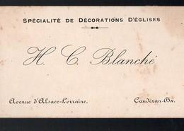 Caudéran (33 Gironde) Carte De Visite BLANCHE ( Décoration D'églises) (PPP12506) - Visiting Cards