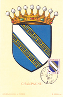 Carte-Maximum FRANCE N° Yvert 953 (CHAMPAGNE) Obl Troyes (Ed Louis) - 1950-59