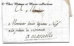 LETTRE DE MARIE BLANCHE LEJEANS NEE ROSTAN A SON FILS LOUIS PLACE VIVAUX DEPUTE NEGOCIANT 1776 DE POMMIERS A MARSEILLE - 1701-1800: Précurseurs XVIII