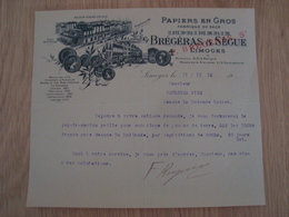 LETTRE PAPIERS EN GROS BREGERAS & SEGUE LIMOGES 1012 - France