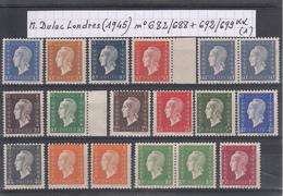 France Marianne De Dulac Londres (1945) Y/T N° 682/688 + 692/699 Neufs ** (lot 1) - 1944-45 Marianne Of Dulac