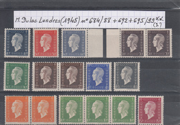 France Marianne De Dulac Londres (1945) Y/T N° 684/688 + 692 + 695/699 Neufs ** (lot 2) - 1944-45 Marianne Of Dulac