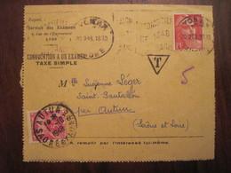 Lettre Enveloppe 1948 Taxe AUTUN Service Des Examens Philosophie - Strafport