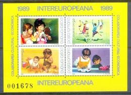 H15- ROMANIA, 1989, Inter-European, Toys & Children Games. European Cooperation Miniature Sheet. - Art