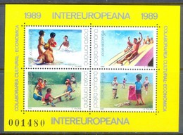 H16- ROMANIA, 1989, Inter-European, Toys & Children Games. European Cooperation Miniature Sheet. - Art
