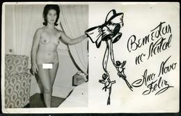 OLD ORIGINAL CHRISTMAS COLONIAL SOLDIERS POSTCARD EROTIC PHOTO SEXY GIRL FEMME NU NUE NUDE NACKT NAKED WOMAN - Célébrités D'époque < 1960