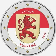 LETTONIE 2017 - 2 EUROS - KURZEME - COULEUR - FARBE + CAPSULE MODELE N° 1 - Lettonie