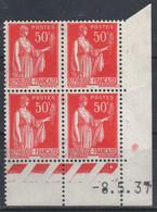 FRANCE  Coin Daté ** Type Paix 50c Rouge Yvert 283  -8.5.37 Neuf Sans Charnière - 1930-1939