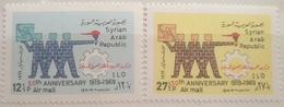 X3 - Syria 1969 SG 1038-1039 Cplte Set 2v. MNH - 50th Anniv Of Intnl Labour Organization - Syria