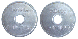 01300 GETTONE JETON TOKEN WASHING MACHINE MIELE ALU HOLED - Germany