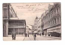 34 Béziers Place Du Theatre Et Café De La Paixcpa Cachet 1905 - Beziers