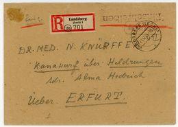 """""""Gebühr Bezahlt"""" Recobrief Aus Landsberg 21.12.45 - American,British And Russian Zone"""