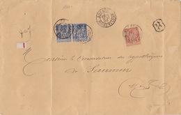 18811# SAGE LETTRE RECOMMANDEE Obl ANGERS MAINE ET LOIRE 1892 Pour SAUMUR - 1877-1920: Période Semi Moderne