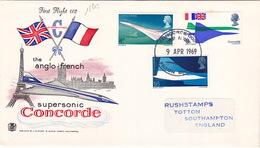 18813# ANGLETERRE LETTRE PREMIER JOUR Obl CONCORDE 002 FIRST FLIGHT 1969 FILTON BRISTOL ENGLAND SUPERSONIC GREAT BRITAIN - FDC