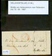 BRIEFOMSLAG Uit 1867 Gelopen Van HELLEVOETSLUIS Naar ROTTERDAM  (11.087) - 1852-1890 (Guillaume III)