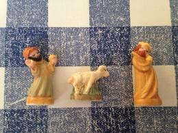 3 Feves Mates Serie Creche Rustique Roi Mage Mouton - Santons