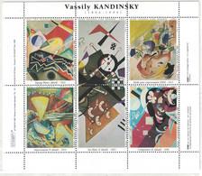 BLOC FEUILLET De 6 VIGNETTES Sur KANDINSKY VASSILY (THEME PEINTRE PEINTURE) - Vignettes De Fantaisie
