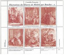 """BLOC FEUILLET De 6 VIGNETTES Sur LA COMEDIE FRANCAISE """"OEUVRES DE MOLIERE"""" (THEME THEATRE) - Vignettes De Fantaisie"""
