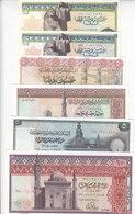EGYPT 25 50 PT 1 5 10 EGP 1971 1978 P-42 43 44 45 46 47 SET OF 6 LOT AU/UNC */* - Egypt