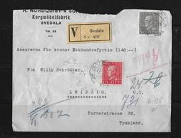 1928 Registered-Letter From Svedala (Nordquist Korgmöbelfabrik) To Leipzig / German - Suède