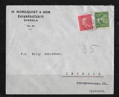 1927 Letter From Svedala (H.Nordquist & Sohn Korgmöbelfabrik) To Leipzig / German - Briefe U. Dokumente