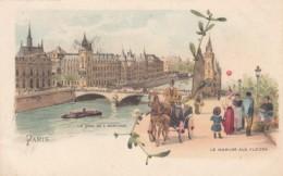 Paris France, Quai De L'Horloge, Flower Market, Artist Image, C1890s/1900s Vintage Postcard - De Seine En Haar Oevers