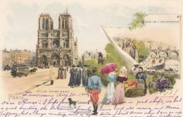 Paris France, Eglise Notre Dame, Street Flower Vendor, Artist Image On C1900s Vintage Postcard - Notre-Dame De Paris