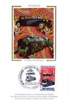 """"""" MUSEES TECHNIQUES DE MULHOUSE / TRAIN / VOITURE """" Sur Carte Maximum En Soie De 1986. N° YT 2450. Parfait état CM - Sonstige (Land)"""