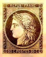 RARE & SUPERBE VIGNETTE CERES N°3 20c Plaqué OR NEUF LUXE PAS D'AMINCI - 1849-1850 Ceres