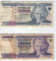TURKEY 207-208 1990 250000-500000 Lirasi Used Lot 1 - Turkey