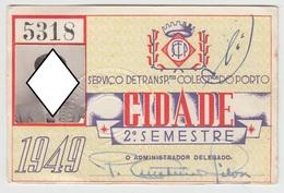 Season Ticket * Passe * Portugal * 1949 * STCP - Europe